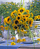 Late summer bouquet with Helianthus (sunflower), Heliopsis
