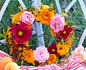 Rosa, Calendula and Cosmos flowers wreath