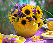 Late summer bouquet with helianthus (sunflower) and aster