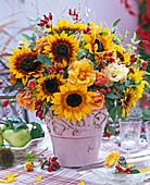 Autumn bouquet with helianthus (sunflower)