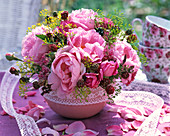 Late summer arrangement in bowl with pink (rose)