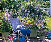 Blue terrace with folding deck chair