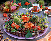 Autumn decoration with berries and fruits