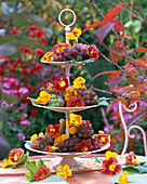 Etagere with fruit and flowers