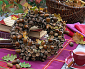 Autumn wreath of acorns