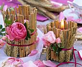 Herbst Windlicht Getreide Erntedank Rosen