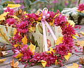 Wreath of Chrysanthemum, Erica, autumn leaves