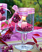 Berries of Callicarpa in lantern with pink candle