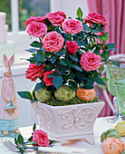 Rose in square relief planter, Easter eggs and bunnies