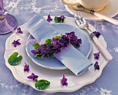 Wreath of Viola odorata around blue napkin, dinner plate, flowers