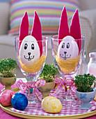 Eggs with face and felt ears