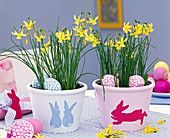 Decorate planters with bunny template