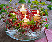 Fragaria around cup with candle glasses floating in water