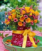 Bouquet made of Eschscholzia, Geum, Alchemilla