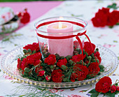 Wreath of roses and raspberries
