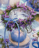 Borage dill wreath around lantern