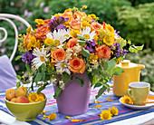 Bouquet of Rose, leucanthemum, clematis