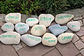 Written stones as labels for herbal bed