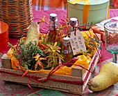 Gift from the garden-herbal oils in small bottles with shield 'For you!