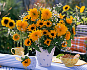 Bouquet of Helianthus, Aster, round box