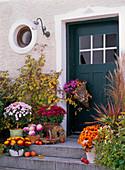 House entrance decorated with chrysanthemum (autumn chrysanthemum)