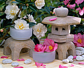 Camellia flowers, Asian pagodas and stone lanterns