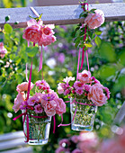 Small bouquets of pink and aster in small glasses