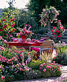 Sitting area behind bed with pink (rose), thymus (thyme)