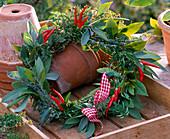 Salvia wreath, rosemary, thymus