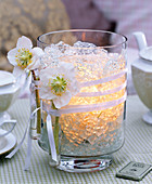 Lantern with Christmas roses and artificial ice