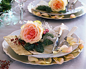 Napkin Deco, Rosa (rosebloom), Abies procera