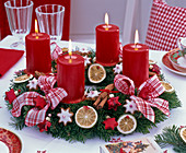 Red and white Advent wreath from Abies nordmanniana (Nordmann fir)