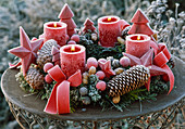 Advent wreath of various coniferous branches, cones, nuts