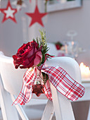 Pink (rose), tip of Pseudotsuga (Douglas fir) and glass star