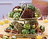 Etagere with citrus, balls with star anise, cardamom