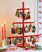 Advent calendar with little bags with branches of Pseudotsuga