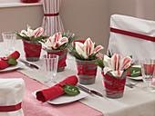 Christmas table decoration with Amaryllis