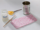 Tin can with pink napkin technique