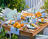 Table decoration with citrus, table runner