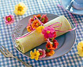 Necklace of primula on checkered rolled napkin