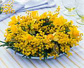 Acacia (mimosa) and Narcissus (narcissus) wreath