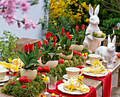 Easter table decoration with tulips