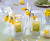 Lanterns with narcissus, cake tip, feathers, bow