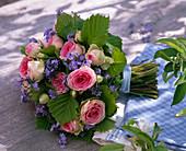 Bouquet of Rose, myosotis, corylus