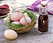 Coloring easter eggs with nature colors