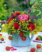 Edible bouquet of Rose, alchemilla, lavandula