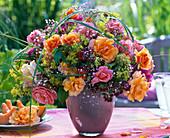 Bouquet of pink with herbs, Origanum, Gypsophila