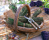 Basket of bundled Lavandula stems can be used to cheer