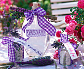 Lavender water, lavender sea salt bath, lavender whey bath in bottles
