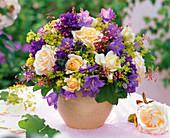 Bouquet with pink (rose), Campanula (bellflower), Heuchera
